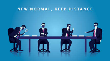 Business people doing meeting during covid 19 coronavirus pandemic with new normal health ptotocol, keep distance and wearing mask, vector illustration