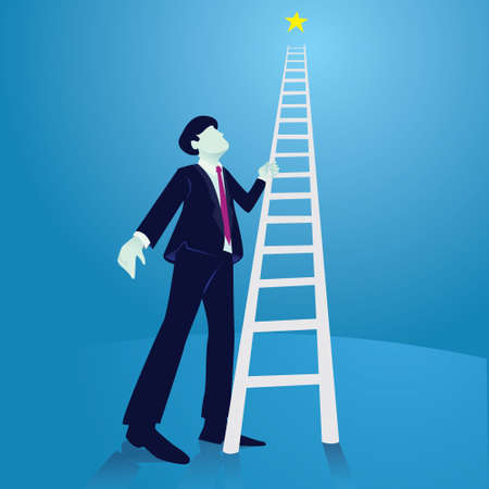 Bussinesman trying to climb high ladder to the sky and reach star, low angle view, vector illustration Vectores