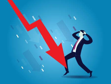 Sad crying businessman with down arrow, concept of bankruptcy, global economic recession, vector illustration
