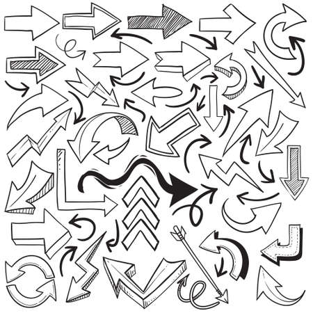 Hand drawn doodle of arrow icon set collection, simple black outline on white, cartoon sketch theme vector illustration