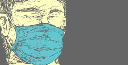 Person wearing mask, vector illustration on doodle sketch simple lines style, close up portrait with copy space