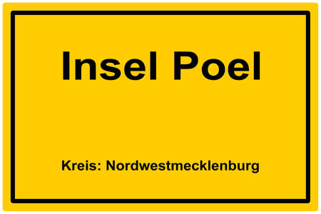 Yellow town sign island Poel (northwest Pomerania), Baltic Sea - Germany Stock fotó