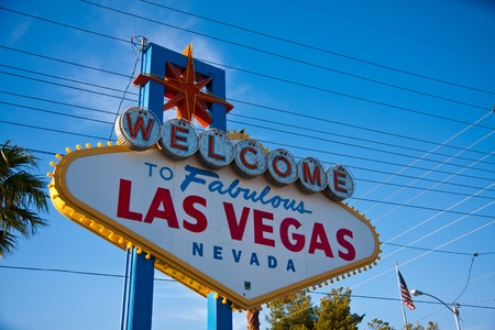 lasvegas: The entrance sign when you arrive in Las Vegas. Stock Photo