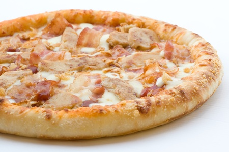 baked chicken: Pizza Western Style on white background
