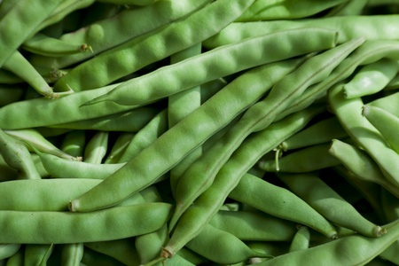 Fresh green beans at a local market. Natural Light. Stock Photo