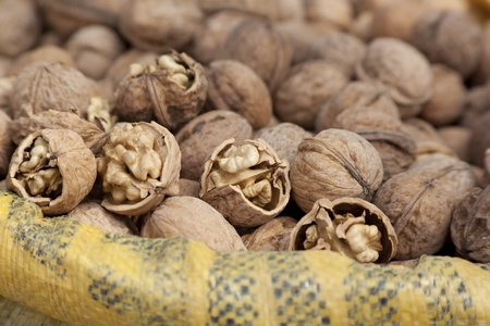 Wallnuts close up shot in a local market. Natural light. Stock Photo - 10886164