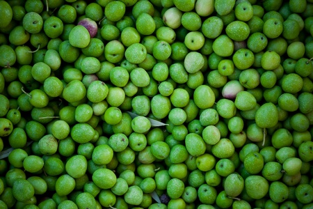 Green olives background in a local market. Natural light.