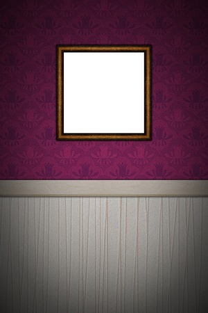 An empty picture frame on a decorated wall. Place for your own picture. 24 Megapixel file.