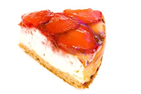 Strawberry cake slice isolated on white.
