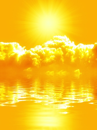 Heavenly clouds and sun reflected on a water surface. Stock Photo