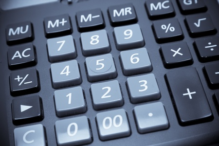 calculus: Calculator keypad close up shot. Blue Toned.  Stock Photo