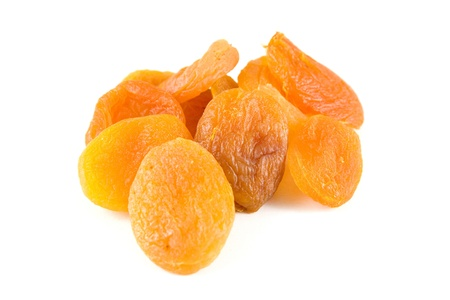 Dried apricots on white background. Stock Photo