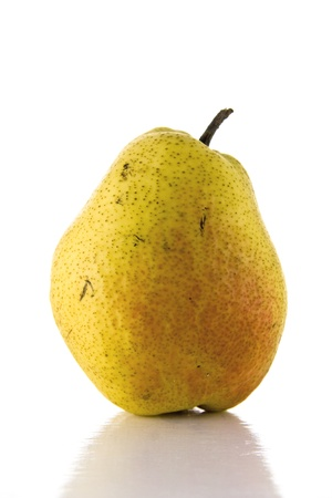 Pear on white background with nice reflection.
