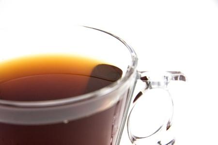 Glass tea cup on white background. Reklamní fotografie