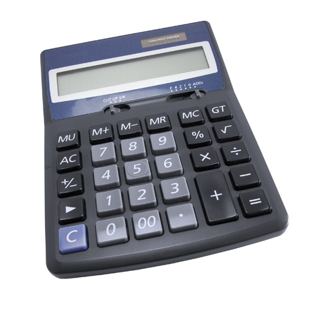 Calculator isolated on white background (clipping path included).