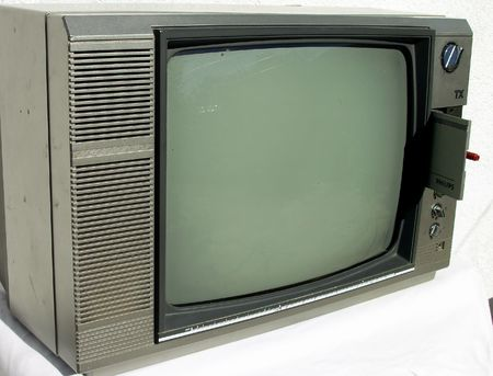 remote view: old television set with black and white image