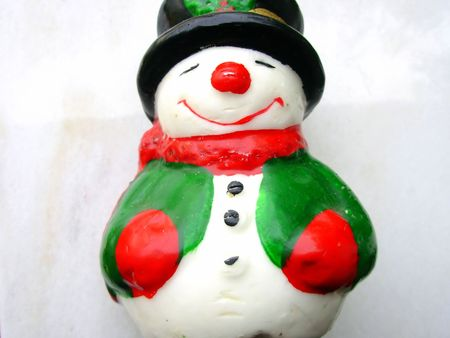 Closeup of christmas snowman on a white background Stock Photo - 653469