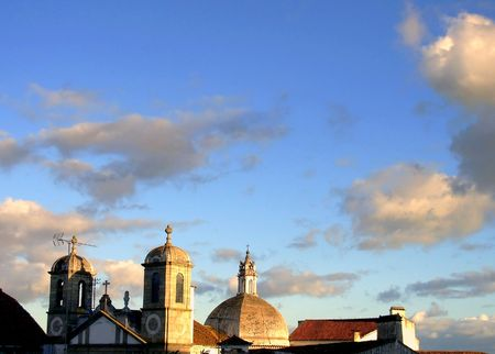 eacute: Towers and vault of the Church of the situated Espirito Santo in the city of andamp,Eacute,vora, Portugal