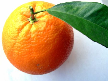 Photo of a navel orange isolated on a white background