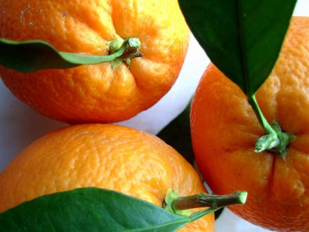Photo of a Navel Oranges with leaves, isolated on white Stock Photo