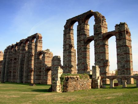 aqueduct: aqueduct of the miracles in the city of m�rida south of spain. Stock Photo