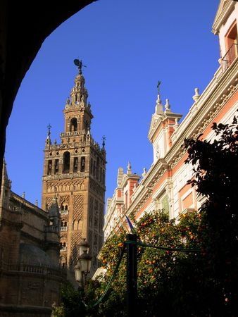 catholic cathedral and giralda tower of seville spain Stock Photo