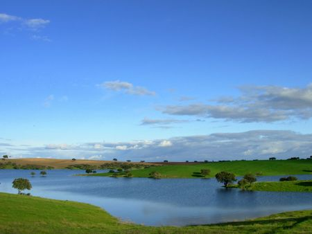 alqueva greater artificial lake of the europe in the river guadiana Stock Photo - 763698