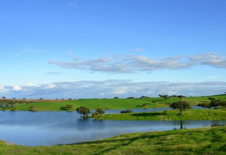 Alqueva greater artificial lake of the europe in the river guadiana Stok Fotoğraf
