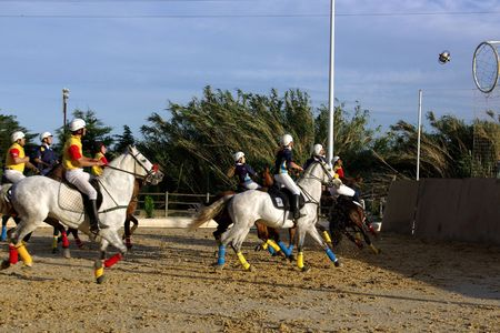 played: Horseball is a exciting team sport played on horseback Stock Photo