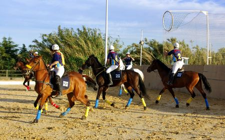 Horseball is a exciting team sport played on horseback Stock Photo