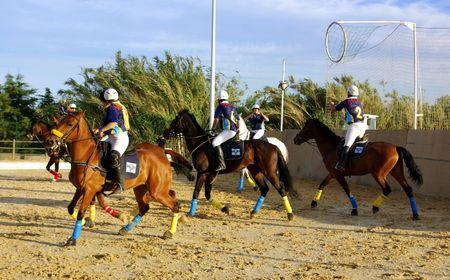 Horseball is a exciting team sport played on horseback Stok Fotoğraf