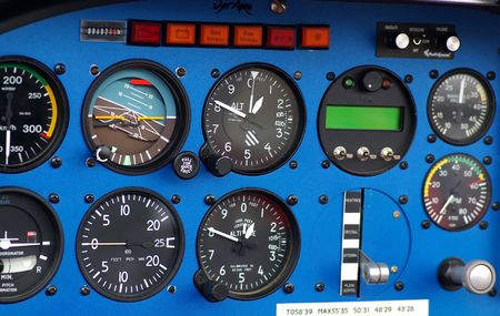 avionics: Instrument panel of a small airplane.