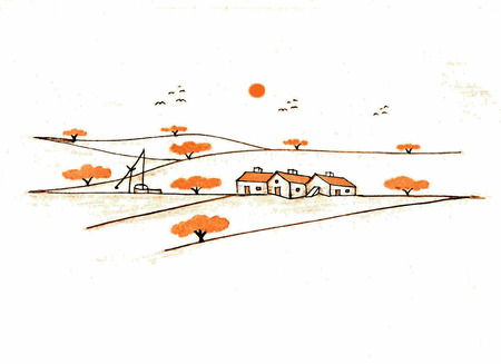 Illustration of countryside in the Alentejo, South of Portugal. Vector