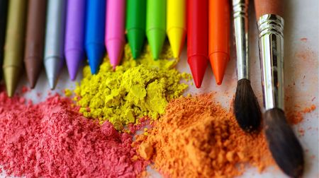 Two brushes, colorful ink for painting and pencils. Stock Photo - 2933001