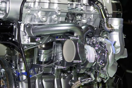 Closeup of engine of an automobile. Engine of internal combustion.