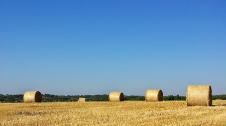 Hay bayle in the field of Alentejo region,  Portugal. Stock Photo - 3253476