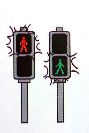 way to go: Traffic lights, road sign. Stock Photo