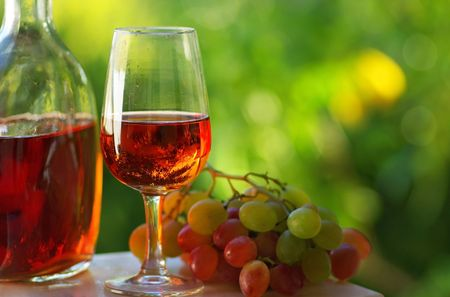 Portuguese rose wine and grapes.