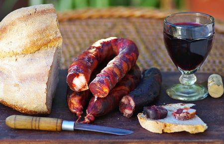 Meat bread and wine, manufacture of Portugal.