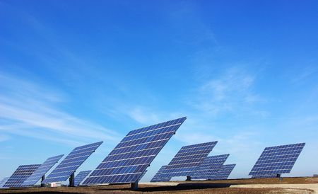 Central of photovoltaic panels. Stock Photo - 4069321