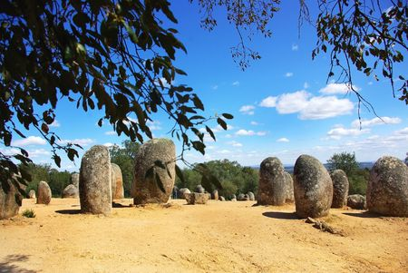 Panoramic of Almendres Cromlech, Evora, Portugal.