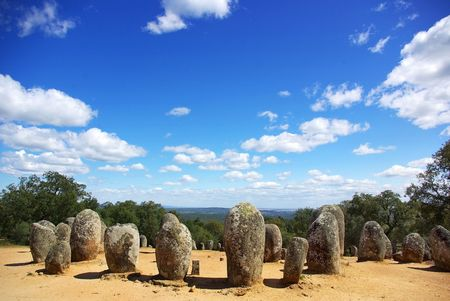 Panoramic of Almendres Cromlech, Evora, Portugal. Stock Photo