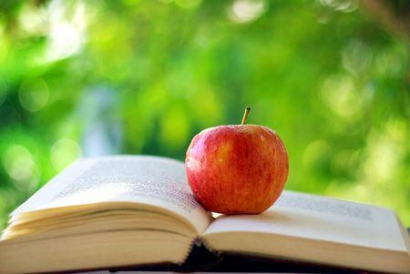 Red Apple an einem Buch. Standard-Bild - 4977025