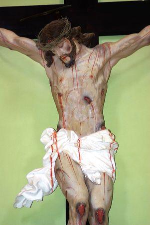 jesus on the cross: Jesus Christ Statue In Cross. Stock Photo