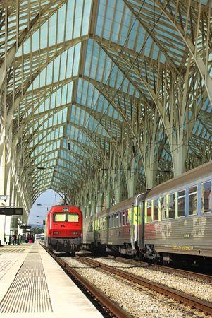 Modern train station in Lisbon, Portugal.
