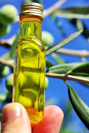 Bottle of oliveoil.   photo