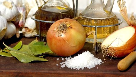 Garlic, onion, oil,vinegar and salt. Stock Photo - 5963756