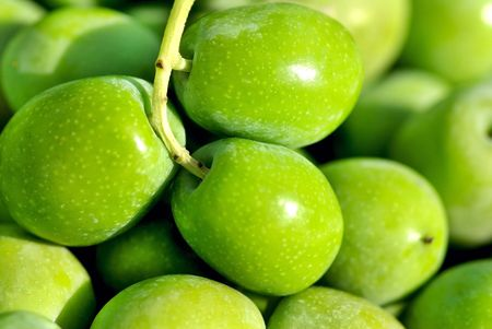 Closeup of green olives. Stock Photo
