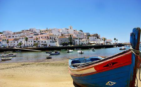 Boat at Ferragudo bay, Algarve.