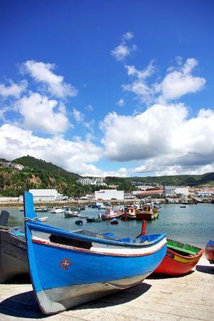sea dock: Boats at Sesimbra bay, Portugal.